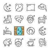 Vector black line Sleep icons set. Includes such Icons as Moon, Pillow, Sheep. Pictogram vector illustration