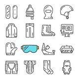 Vector black line Snowboarding icons set. Includes such Icons as Snowboard, Armor, Web Camera, Balaclava. stock illustration