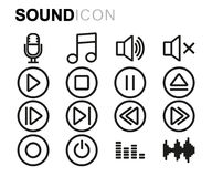 Vector black line sound icons set Royalty Free Stock Image