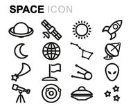 Vector black line space icons set Stock Images