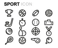 Vector black line sport icons set Royalty Free Stock Photography