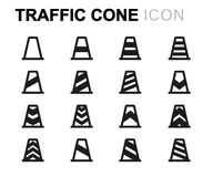 Vector black line traffic cone icons set Stock Image
