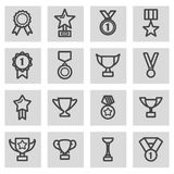 Vector black line trophy and awards icons set. On grey background Royalty Free Stock Image