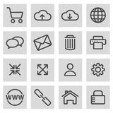 Vector black line web icons set Royalty Free Stock Images