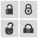 Vector black lock icons set Stock Photos