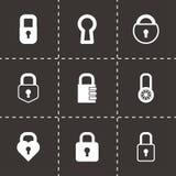 Vector black locks icons set. On black background Stock Image