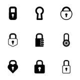 Vector black locks icons set Stock Image