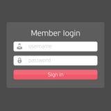 Vector black login interface. Stock Photos
