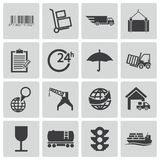 Vector black  logistic icons Royalty Free Stock Photography