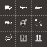 Vector black logistic icons set Royalty Free Stock Images