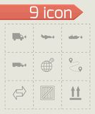 Vector black logistic icons set Stock Photography