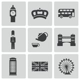 Vector black london icons set Royalty Free Stock Images