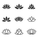 Vector black lotus icons set on white background. Royalty Free Stock Photography