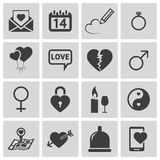 Vector black  love icons. Set Royalty Free Stock Images