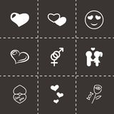 Vector black love icons set. On black background Stock Photography