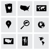 Vector black love icons set. On grey background Royalty Free Stock Photos