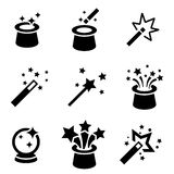 Vector black magic icons set. Stock Images
