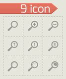 Vector black magnifier glass icons set Royalty Free Stock Photos