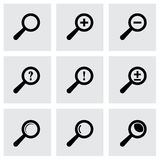 Vector black magnifier glass icons set Royalty Free Stock Images