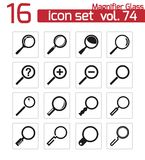 Vector black  magnifying glass  icons Royalty Free Stock Images