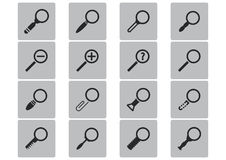 Vector black magnifying glass icons set Stock Photography