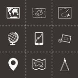 Vector black map icons set. On black background Stock Photography