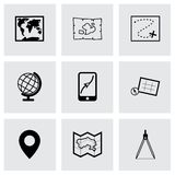 Vector black map icons set Royalty Free Stock Image