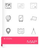 Vector black map icons set Royalty Free Stock Images