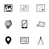 Vector black map icons set Royalty Free Stock Photo