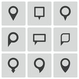 Vector black map pointer icons set Royalty Free Stock Photos