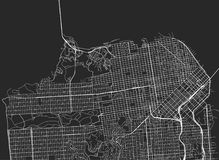 Vector black map of San Francisco. Vector background with all streets of San Francisco and surroundings map royalty free illustration