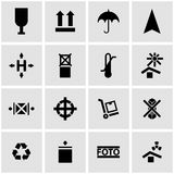 Vector black marking of cargo icon set Royalty Free Stock Image