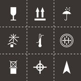 Vector black marking of cargo icons set Royalty Free Stock Photo