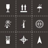 Vector black marking of cargo icons set Royalty Free Stock Photo