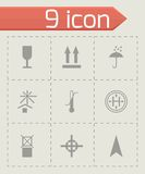 Vector black marking of cargo icons set Stock Photography