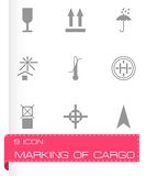 Vector black marking of cargo icons set Stock Images