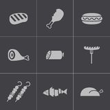 Vector black meat icons set Stock Photo