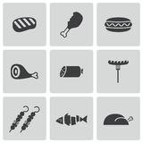 Vector black meat icons set. On white background Stock Images