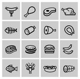 Vector black meat and sausage icon set Royalty Free Stock Photography