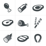 Vector black meat and sausage icon set on white.  Royalty Free Stock Photos