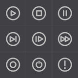 Vector black media buttons icons set. On grey background Stock Illustration