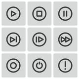 Vector black media buttons icons set Stock Images
