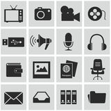 Vector black media icons set on gray Royalty Free Stock Images
