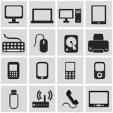 Vector black media icons set on gray Stock Photography