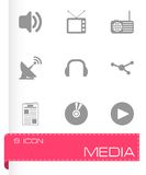 Vector black media icons set Stock Photography