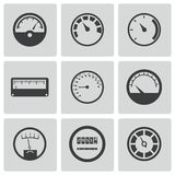 Vector black meter icons set stock photos