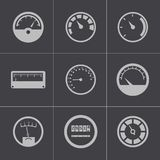 Vector black meter icons set Stock Images