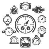 Vector black meter icons set Stock Image