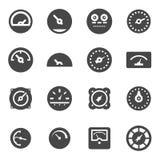 Vector black meter icons set Stock Photos