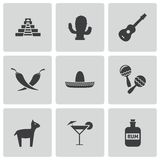Vector black mexico icons set Royalty Free Stock Images